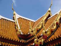 Thai temple roof tiles bangkok thailand Stock Photo