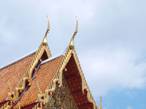Thai temple roof top decoration in marble temple Stock Photos