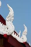 Thai temple roof. White thai dragon Royalty Free Stock Photography