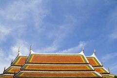 THAI temple's roof and blue sky Stock Images