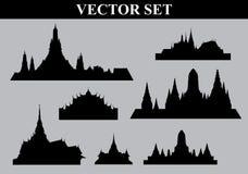 Thai temple set vector file stock illustration
