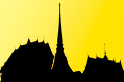 Thai Temple in silhouette style Stock Photography