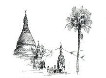 Thai temple sketching. Sketching of north thai temple which is pagoda on the mountain Stock Photography