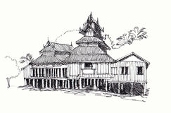 Thai temple sketching. Sketching of north thai temple Stock Photography