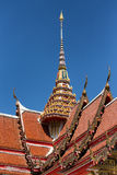 Thai temple spire. Spire and roof of the Wat Chalong Buddhist temple in Chalong, Phuket, Thailand Stock Photo