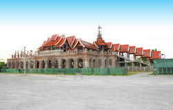 Thai temple style building under construction Stock Photo