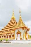 Thai temple style in Khon Kaen Thailand. Pagoda twin of Thai temple style on blue sky in Khon Kaen in Thailand Stock Photos