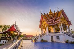 Thai temple at sunset, Wat Bang Pla - Samut Sakhon, Thailand. Thai temple at sunset, Wat Bang Pla in Samut Sakhon, Thailand royalty free stock photography