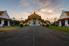 Thai Temple at sunset Wat Benchamabophit in Bangkok, Thailand Stock Photos