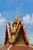 Thai temple : Thai style art. Roof of Thai temple, showing classic Thai style art Stock Photography