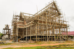 Thai temple under construction. Temple in thailand under construction Royalty Free Stock Photos
