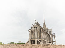 Thai temple under construction. With white background royalty free stock images