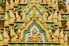 Thai Temple Wall gold color. Thai Temple Wall Art-07 Royalty Free Stock Image