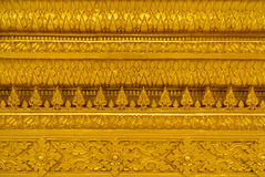 Thai Temple, Wall Thai. Beautiful golden temple is elegant pronounced in Thailand Stock Photo