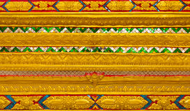 Thai Temple, Wall Thai. And Thai Pattern Design on wall ,Traditional Ornament Paint on Temple wall Royalty Free Stock Images