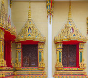 Thai Temple, Wall Thai and Thai Pattern Design on wall Royalty Free Stock Images
