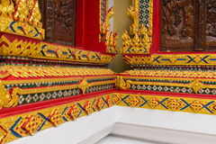 Thai Temple, Wall Thai and Thai Pattern Design on wall. Traditional Ornament Paint on Temple wall Stock Photography