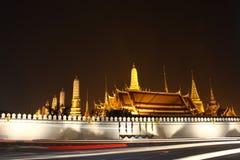 Thai temple at night. Thai temple Wat Phra Kaew view at night time Stock Photo
