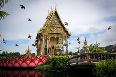 The Thai temple in Wat Plai Laem in Samui Island Thailand, in th stock image
