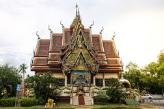 The Thai temple in Wat Plai Laem in Samui Island Thailand, with royalty free stock photography