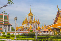 Thai temple Wat Ratchanadam Metal Castle. Metal Castle built as a replacement for Jade Pagoda. It is the first metal castle in Thailand. The top 37 castles stock images