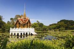 Thai temple on the water. At Rama 9 Garden Bangkok, Thailand stock image