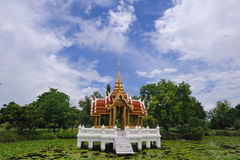 Thai temple on the water at Rama 9 Garden Stock Images