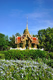 Thai temple on the water at Rama 9 Garden Royalty Free Stock Images