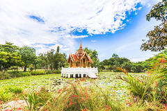 Thai temple on the water. At Rama 9 Garden Bangkok, Thailand Royalty Free Stock Image