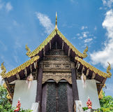 Thai temple with white cloud. And blus sky Stock Photo
