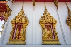 Thai temple, windows  and frames, Chanthaburi. Stock Photo
