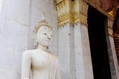 Thai temples and beautiful white pagoda are beautiful stucco designs. The ancient Buddha image. Wat Phra Mahathat Phetchaburi, Thailand royalty free stock photos