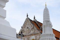 Thai temples and beautiful white pagoda are beautiful stucco designs. The ancient Buddha image. Wat Phra Mahathat Phetchaburi, Thailand royalty free stock photography