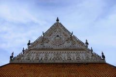 Thai temples and beautiful white pagoda are beautiful stucco designs. The ancient Buddha image. Wat Phra Mahathat Phetchaburi, Thailand royalty free stock photo