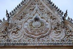 Thai temples and beautiful white pagoda are beautiful stucco designs. The ancient Buddha image. Wat Phra Mahathat Phetchaburi, Thailand stock photo