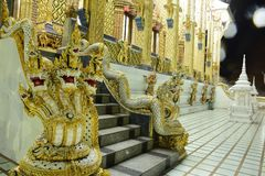 Thai temples are decorated by Thai pattern with gold. Temple was build in many years ago with unique Thai style architecture. Most of Thai temples are decorated Royalty Free Stock Photo