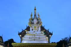 Thai temples are decorated by Thai pattern with gold color decoration. Temple was build in many years ago with unique Thai style architecture. Most of Thai Royalty Free Stock Image