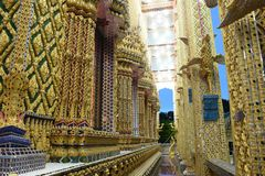 Thai temples are decorated by Thai pattern with gold color decoration. Temple was build in many years ago with unique Thai style architecture. Most of Thai Royalty Free Stock Photo