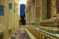 Thai temples are decorated by Thai pattern with gold color decoration. Temple was build in many years ago with unique Thai style architecture. Most of Thai Royalty Free Stock Photos