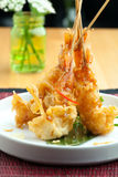 Thai Tempura Shrimp Skewers Royalty Free Stock Photo