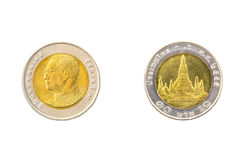 Thai ten baht coins Stock Images