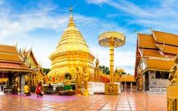 Thai Thailand för Buddhawat tempel Doi Suthep Arkivfoton