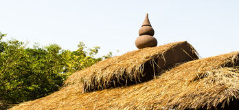 Thai Thatched Roof. Traditional thatched roof on typical Thai hut Royalty Free Stock Photos