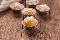 Thai toddy palm cake sweet taste delicious on wood background Stock Images