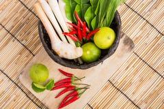 Thai Tom Yam soup herbs and spices, lemongrass, Kaffir Lime leav Stock Image