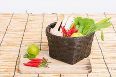 Thai Tom Yam soup herbs and spices, lemongrass, Kaffir Lime leav Stock Photo
