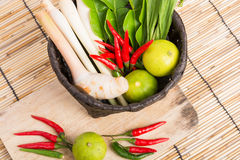 Thai Tom Yam soup herbs and spices, lemongrass, Kaffir Lime leav Royalty Free Stock Photo