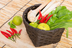 Thai Tom Yam soup herbs and spices, lemongrass, Kaffir Lime leav Royalty Free Stock Image