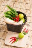 Thai Tom Yam soup herbs and spices, lemongrass, Kaffir Lime leav Stock Images