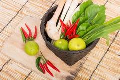 Thai Tom Yam soup herbs and spices, lemongrass, Kaffir Lime leav Royalty Free Stock Images